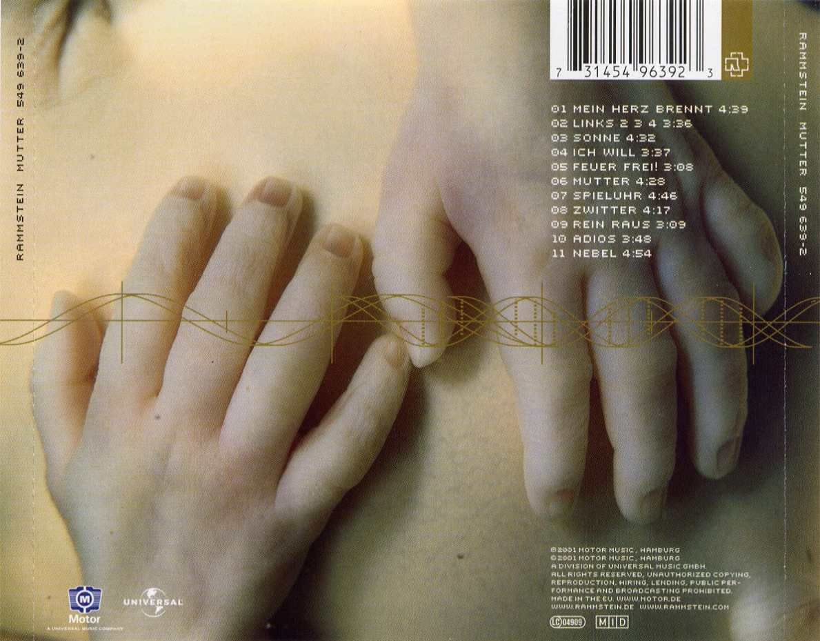 Rammstein - mutter - скан 2 rammstein - mutter - задняя обложка